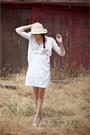 Cream-alyssa-nicole-dress-camel-urban-outfitters-hat-white-saks-5th-avenue-v