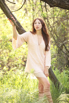 light pink sequins Alyssa Nicole dress - light brown Zara sandals