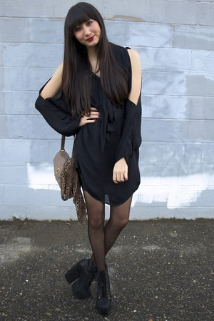 black freda Jeffrey Campbell wedges - black Alyssa Nicole dress