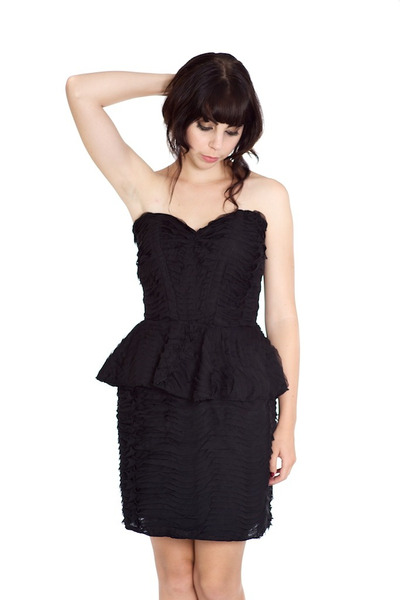black ruffle peplum Alyssa Nicole dress