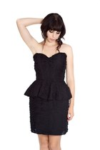 black ruffle peplum Alyssa Nicole dress