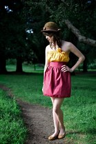 mustard tube top Alyssa Nicole top - dark brown brown wool thrifted vintage hat