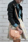 Light-blue-alyssa-nicole-skirt-black-motorcycle-nasty-gal-jacket