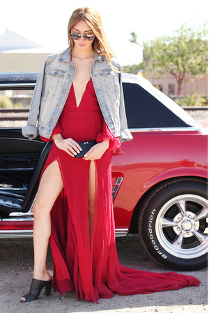ruby red red Alyssa Nicole dress - light blue denim Target jacket