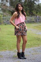 pink baby phat blouse - pink American Rag skirt - black Target boots