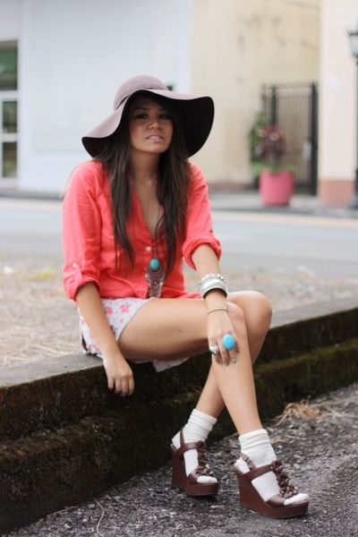 coral button-up merona blouse - brown wedge xhilaration shoes