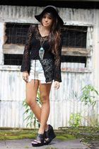 black crochet blouse - black wedge BCBGeneration shoes - black floppy hat