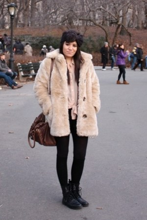 faux fur MinkPink coat - lace-up H&M boots - bow headband Topshop hat
