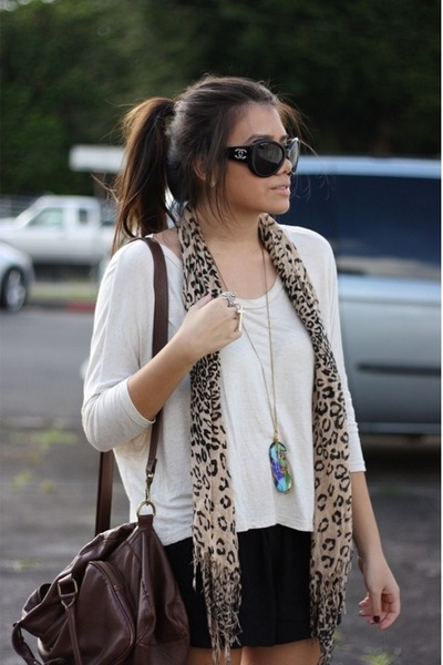 black Chanel glasses - brown Forever21 bag - black American Rag shorts