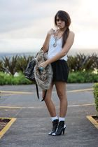 white no brand shirt - black Macys shorts - brown Forever21 vest - white socks -