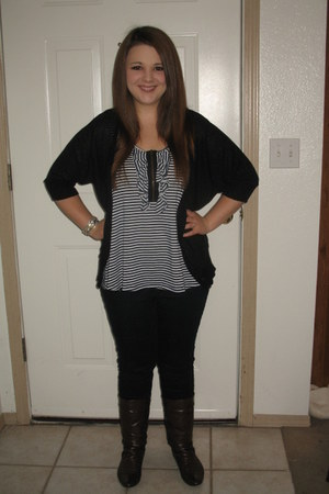 Living Doll top - Nicole boots - Charlotte Russe jeans - say what cardigan