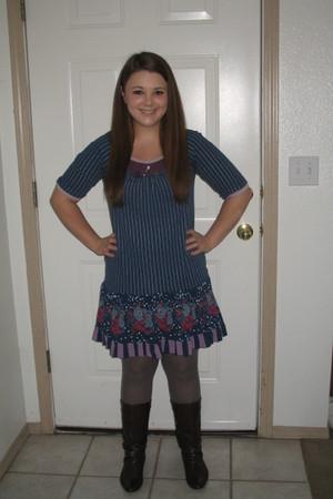 navy Scrapbook dress - light purple Forever 21 leggings - dark brown Nicole boot