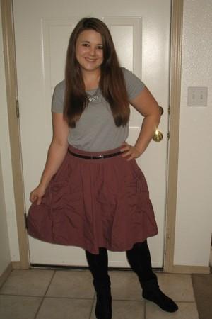 gray Style & Co t-shirt - pink Mossimo skirt - black Forever 21 leggings - Rampa