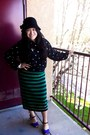 Black-hat-knitted-jacobs-skirt-sheer-le-caviar-blouse