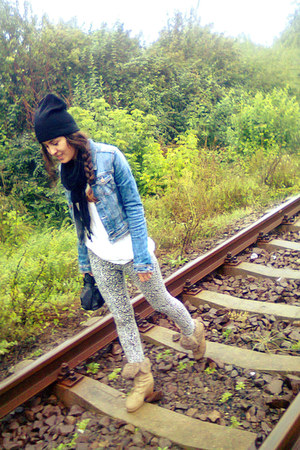 navy denim H&M jacket - black asoscom hat - white c&a leggings