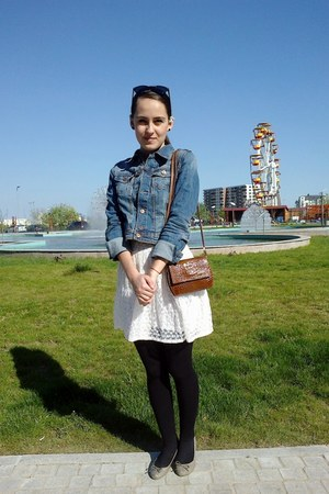 Bershka dress - denim H&M jacket - vintage purse - H&M flats