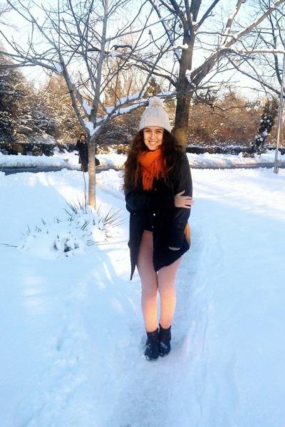 black leather H&M boots - light orange denim Sicko 19 jeans