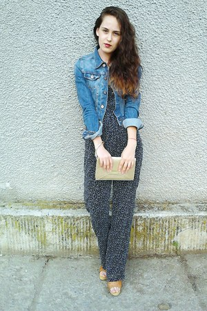 navy denim H&amp;M jacket - gold Avon purse - Oysho romper