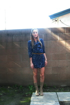 blue Silence  Noise dress - gold H&M belt - beige My Dads sock drawer socks - be