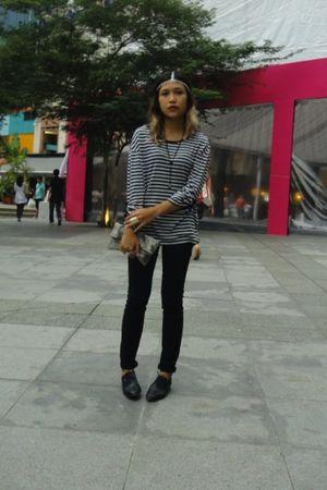 black Topshop jeans - black Topshop shoes - blue Mango blouse - silver asos acce