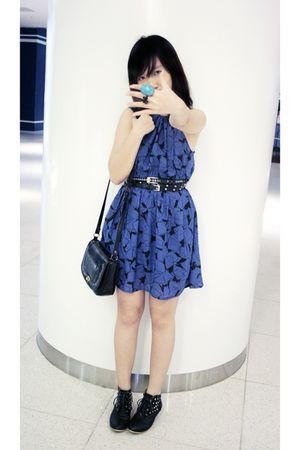 blue vintage dress - blue Forever21 accessories - black diva accessories - black