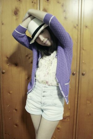 white local online store hat - purple Topshop cardigan - beige bysi top - blue T