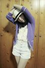 White-local-online-store-hat-purple-topshop-cardigan-beige-bysi-top-blue-t