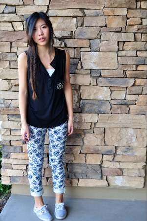 black studs pocket Daydreamer LA shirt - floral print Paige pants