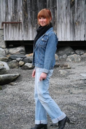 Peppercorn jacket - GINA TRICOT jeans - H&M scarf - Din Sko boots