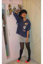 hat - flea market sweater - iconia dress - iconia stockings - bkk shoes