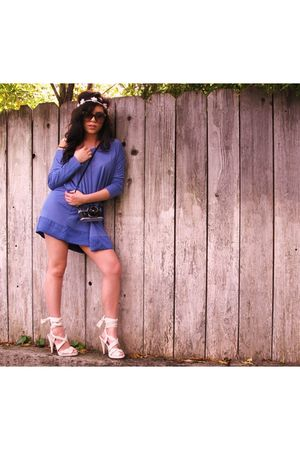 black Vintage Glasses glasses - H&M shoes - purple H&M dress - white H&M accesso
