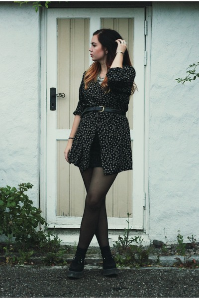 patterned vintage dress - biker H&M jacket
