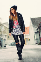 black faux leather h&m leather jacket jacket - second hand boots