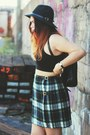 Floppy-london-hat-chunky-boots-ebay-heels-crop-h-m-top-plaid-vintage-skirt