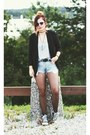 Converse-shoes-black-blazer-vintage-denim-levis-shorts
