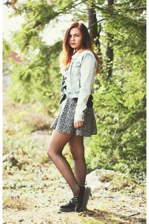 creepers TUK FOOTWEAR shoes - printed Urban top - floral h&m divided skirt