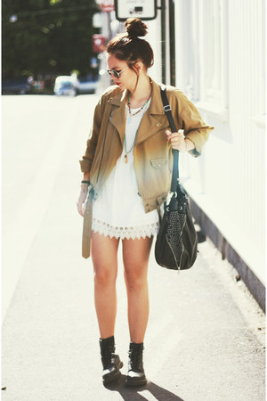 white lace Nelly dress - leather docs Dr Martens boots - Nelly jacket