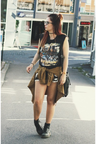 ripped vintage top - Dr Martens boots - second hand shirt - lace Ebay shorts