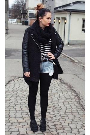 leather sleeves H&M jacket