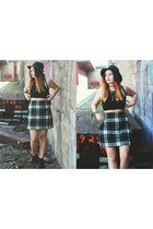 plaid vintage skirt - floppy london hat - chunky boots Ebay heels - crop H&M top