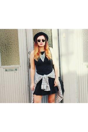 H&M dress - black Converse shoes - bowler H&M hat - plaid second hand shirt