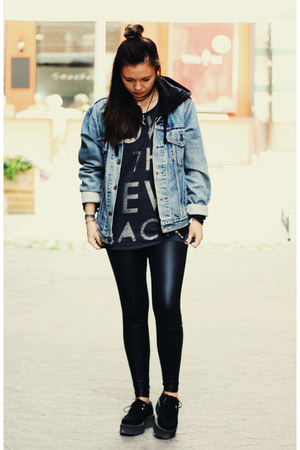 vintage jacket - creepers TUK shoes - faux leather Bik Bok tights