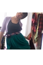 sweater - top - tights - American Apparel skirt - shoes - belt