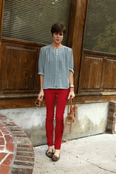 ruby red jeans - vintage Dooney and Bourke bag - vintage blouse - vintage flats