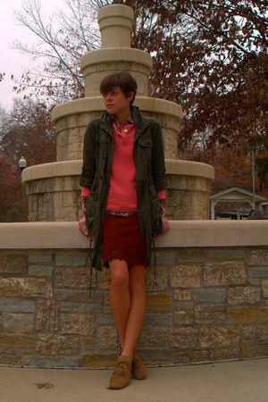 army green jacket - light brown boots - coral sweater - brick red skirt