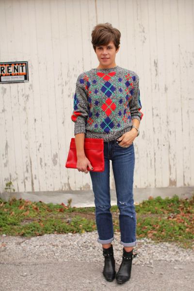 vintage Diane Von Furstenberg sweater - black boots - calvin klein jeans