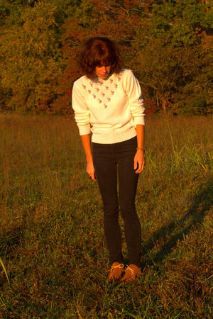 Topshop jeans - vintage moccasins shoes - vintage sweater