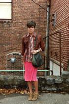 salmon vintage dress - light brown H by Hudson boots - dark brown vintage jacket