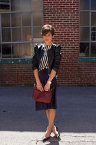 ivory striped vintage blouse - black H&M jacket - maroon bag - black pumps