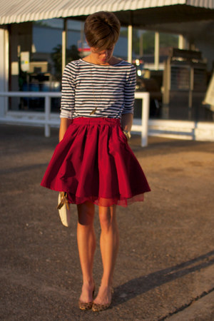 navy striped Rodarte for Target shirt - brick red Gap skirt